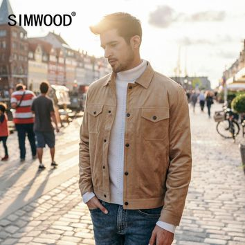 Trendy SIMWOOD Smooth Suede Trucker Jacket Men 2018 Autumn Classic Workwear Look Fashion Western Coats Slim Fit Outerwear 180498 AT_94_13