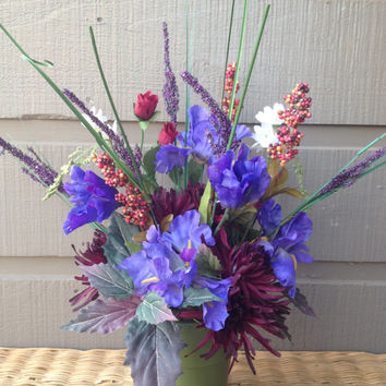 Handmade Artificial Floral Arrangement: Variety of Flowers in Shades of Purple and Burgundy with White Flowers and Berries
