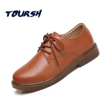 TOURSH 2018 New Spring Women Oxford Shoes Flats Shoes Women Luxury Genuine Leather Shoes Moccasins Lace Up Loafers White Shoes