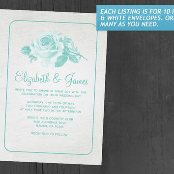 Aqua Rustic Floral/Flower Wedding Invitations | Invites | Invitation Cards