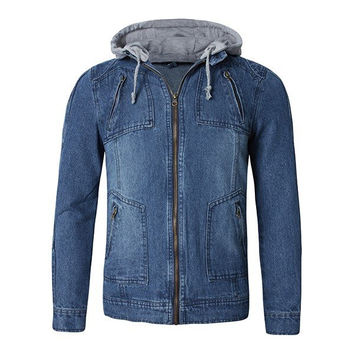 Mens Fall Winter Stylish Denim Jacket Slim Fit Hooded Jackets