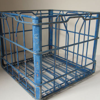 Heavy Blue Painted Metal Milk Crate - Sturdy With Great History - Large Open Handles and Tight Grid on Bottom - Rustic Decor, Country Decor
