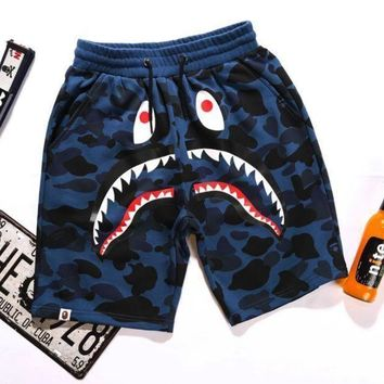 PEAPIH3 BAPE SHARK Fashion Shark mouth print Camouflage green blue purple shorts pants F Blue