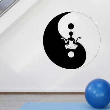 Wall Sticker Vinyl Decal Yin Yang Symbol Sitting Yoga in Circle (n967)