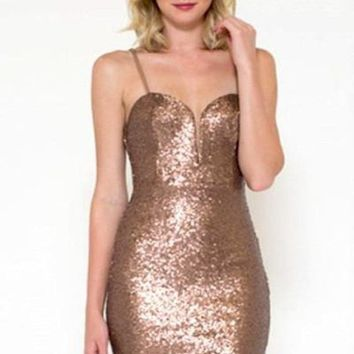 Stop and Stare Bronze Sequin Mini Dress - !