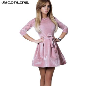 JYConline Fashion Women Velvet Dresses Ukraine Vintage Tunic Slash Winter Dress Pink Ball Gown Sexy Party Dress Female Vestidos
