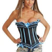 Body Waist Shaper Sexy Palace Blue Lace Butterfly Slim Corset [4965296772]