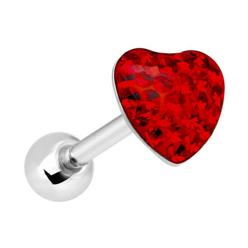 Dome Red Heart Gem Barbell Tongue Ring