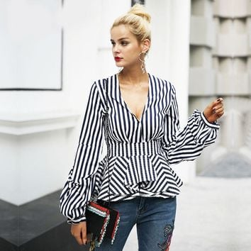 V Neck Pep Blouse