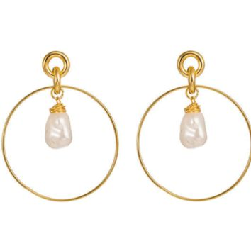 Drop Hoop Earrings Gold Plated with Simulated Pearl Drop