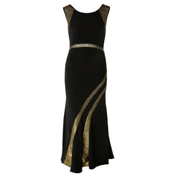 Glittering Black and Gold Evening Dress