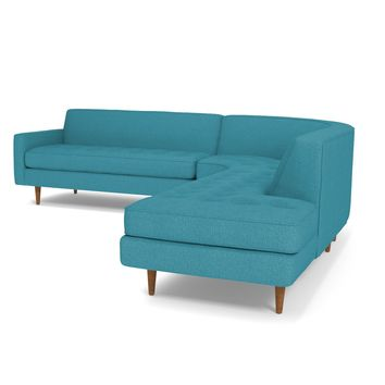 Monroe 3pc Sectional Sofa RAF in PERFORMANCE TEAL - CLEARANCE