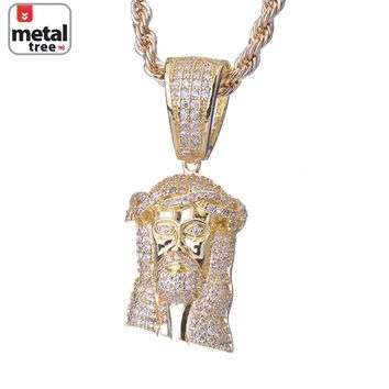 Jewelry Kay style Fashion Men's 14k Gold Plated Iced Out Mini Jesus Piece Pendant Chain Necklace