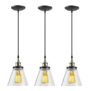 Globe Electric 1-Light Black Vintage Edison Hanging Glass Pendant with Antique Brass and Black Cord (Pack of 3)-62507 - The Home Depot