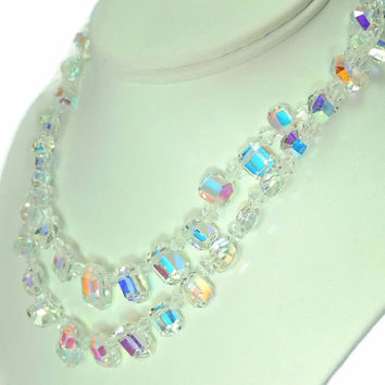 1950s Crystal Bead Choker Necklace Emerald Cut Iridescent Wedding Vintage