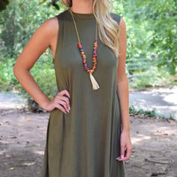 On A Whim Jersey Shift Dress – Olive