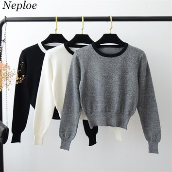 Neploe Japanes Style Women Sweaters 2018 Spring New Fashion Sexy Crop Top Long Sleeve Patchwork Knitted Pullovers 67043