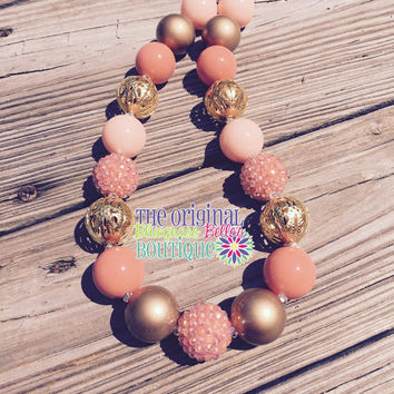 Coral and Gold bubblegum necklace | coral bubblegum necklace | gold bubblegum necklace