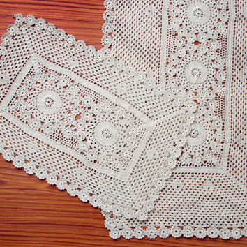Premium Vintage Handmade Crochet Runner- Kitchen and Dining Decor- Wedding Runner
