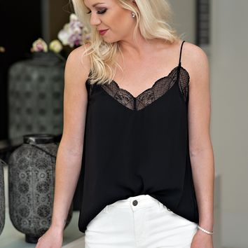 Lace Get Together Lace Top : Black