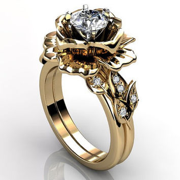 14k yellow gold diamond unusual unique floral engagement ring, bridal ring, wedding ring, engagement set  ER-1055-2