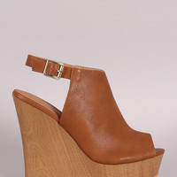 Qupid Peep Toe Faux Wooden Platform Mule Wedge
