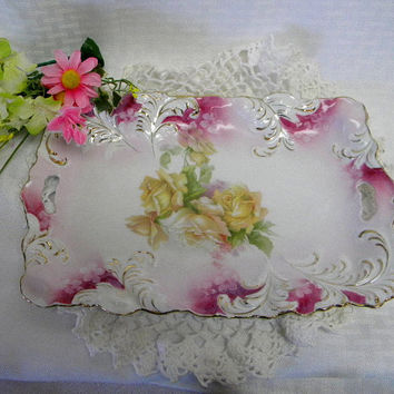 RS Prussia serving dish with roses gold trim and pierced handles Red Mark on back