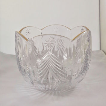 Vintage Mikasa Christmas Tree Bowl Gold Trim Cut Glass