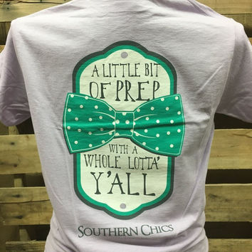 Southern Chics Lil Bit of Prep Whole Lot of Y'all Bow Girlie Bright T Shirt