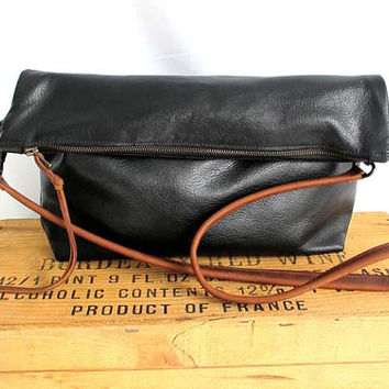 Italian black leather bag - large leather clutch - cross body tote - black leather hobo bag