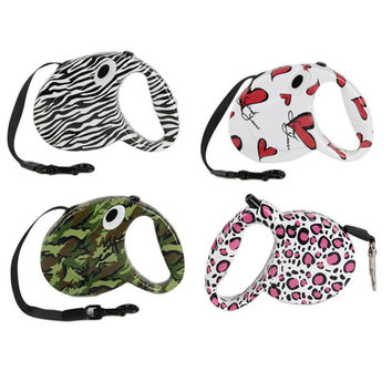 Trendy Patterns Retractable Dog Leash