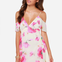 LULUS Exclusive Gossamer Grove Cream Floral Print Dress