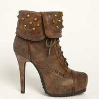 FOLD OVER SPIKED BOOTIES