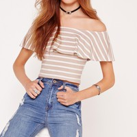 Missguided - Jersey Stripe Bardot Crop Top Brown