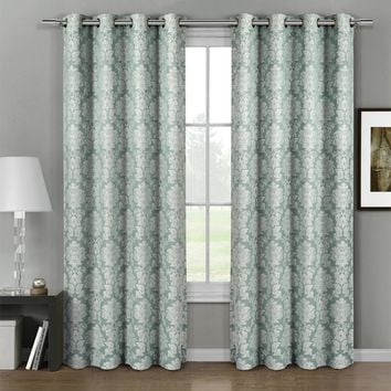 Aqua Aryanna Jacquard Grommet Top Curtain Panel Pair (Two Panels )