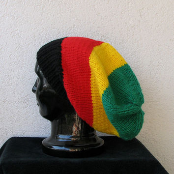 simple slouchy beanie hat in color rasta, slouchy hat for men or women, Bob Marley, reggae - rasta colors