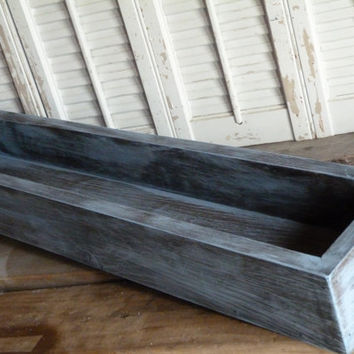 "Rectangular Box, Wedding Centerpiece 36""L box, Baby Blue Cottage Chic Box, Center Piece, Wedding Decor, Wooden Planter Box"