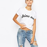 Adolescent Clothing Boyfriend T-Shirt With Shine On Print