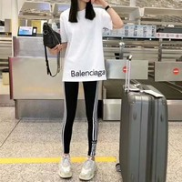 """Balenciaga"" Summer Women Casual Letter Print Short Sleeve T-shirt Stripe Leggings Trousers Set Two-Piece Sportswear"
