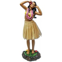 Leilani Hula Dashboard Doll - Girl in Hula Pose with Pink Lei and Natural Skirt