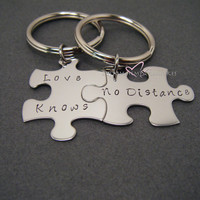 Love Knows No Distance keychains for couples