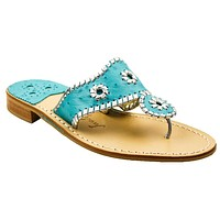 Exclusive Ostrich in Turquoise and Silver Navajo Sandals by Jack Rogers - FINAL SALE