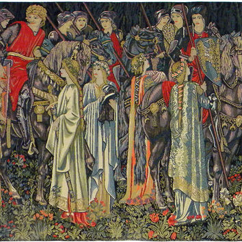 Group of Knights Quest for the Holy Grail Tapestry Wall Art Hanging