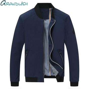 Grandwish Men's Jacket Spring and Autumn Mens Jacket Plus Size 4XL Solid Windbreak Jacket Men Casual 2017 New Arrival,DA158