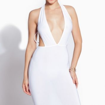 White Plunging Caged Body Con Dress @ Cicihot sexy dresses,sexy dress,prom dress,summer dress,spring dress,prom gowns,teens dresses,sexy party wear,ball dresses
