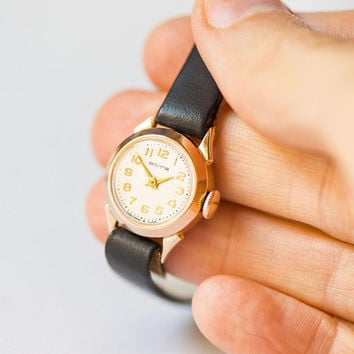 Micro wristwatch solid gold 14K women timepiece Volga, vintage lady watch gold gift, tiny jewelry lady watch USSR, premium leather strap new