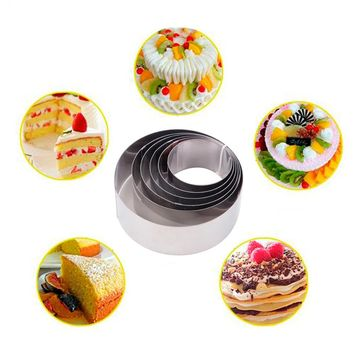 Urijk DIY Silver Mousse Cake Rings Stainless Steel 6Pcs/set Round Small Cake Mold 6-12cm Biscuit Bakeware Kitchen Baking Tools