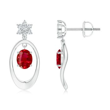 Oval Framed Drop Ruby and Diamond Floral Earrings
