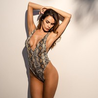 Snakeskin Print Halter Deep V-neck Bodysuit Backless Ce Ce Leotard