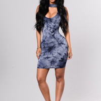 Marsha Tie Dye Dress - Navy